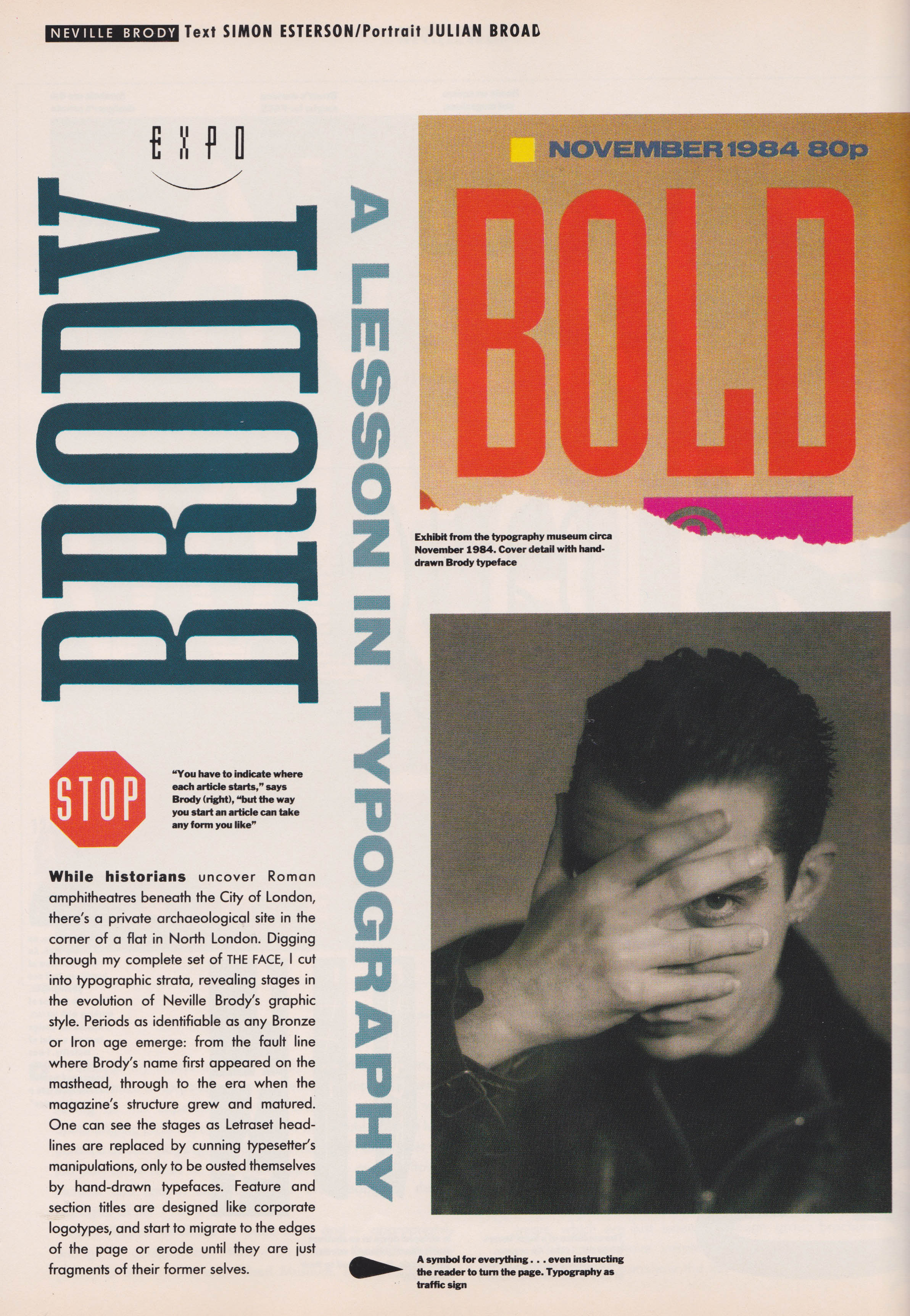 Neville Brody, A Lesson In Typography, The Face, April, 1988