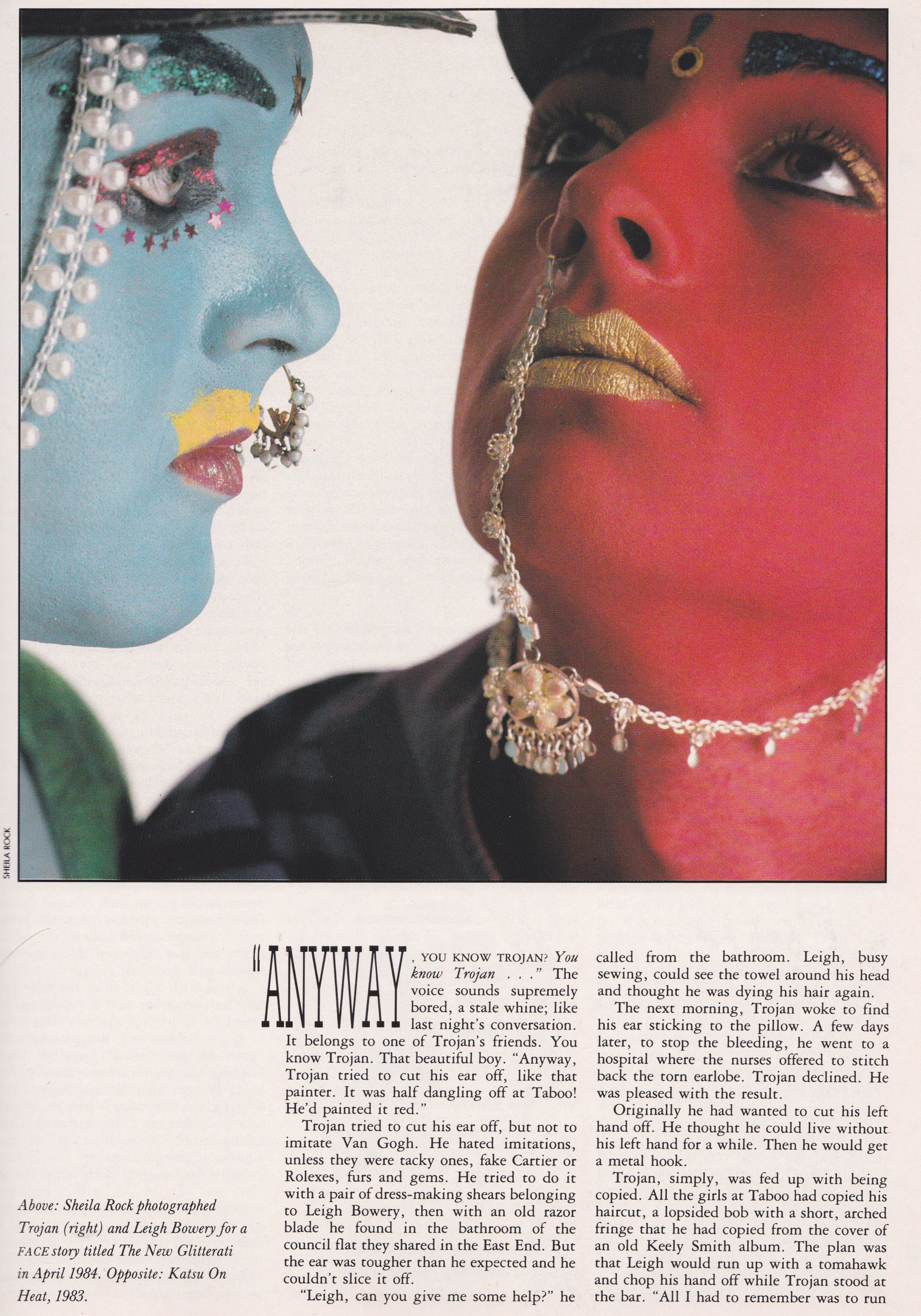 The Torjan Story, The Face, January, 1987, Leigh Bowery, Taboo,